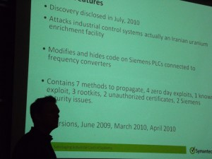 Overview of what Symantec found.  In frame is the presenter, Liam O'Murchu.