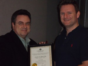 Don Thomas (left), IEEE Buenaventura CS, presents plaque to speaker Liam O'Murchu.  Thanks Liam!
